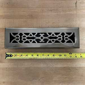 Brass Elegans [120B AB] Brass Decorative Floor Register Vent Cover - Victorian Scroll